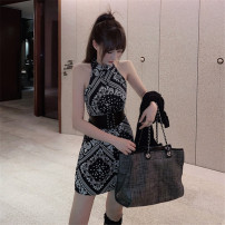 Dress Autumn 2020 Skirt + FREE waist cover [in stock], black blouse S,M,L Short skirt singleton  Sleeveless Socket Pencil skirt 18-24 years old