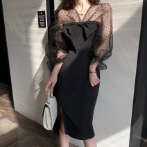 Dress Autumn of 2019 black S,M,L Miniskirt singleton  Long sleeves commute V-neck zipper One pace skirt bishop sleeve 25-29 years old Other / other Korean version