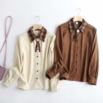 shirt Brown, beige L,M,S Spring 2021 other 30% and below Long sleeves other other other other other 18-24 years old Bowknot, stitching blending
