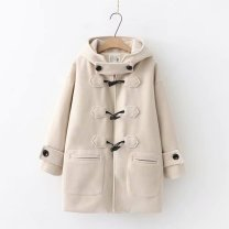 woolen coat Winter of 2018 M,L,S Navy, light blue, off white Pashmina  51% (inclusive) - 70% (inclusive) Medium length Long sleeves commute zipper routine Hood Solid color Straight cylinder Korean version 18-24 years old zipper Solid color polyester fiber