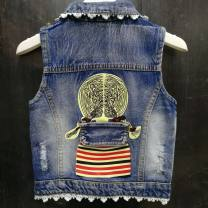 Vest female Other / other spring and autumn routine No model Single breasted Denim Cartoon animation Cotton 93.5% other 6.5% Class B 12 months, 18 months, 2 years old, 3 years old, 4 years old, 5 years old, 6 years old, 7 years old, 8 years old
