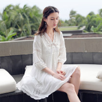 Dress Summer 2020 white S,M,L,XL,2XL singleton  three quarter sleeve Sweet V-neck Loose waist Solid color Socket A-line skirt bishop sleeve Type A Splicing, lacing, Gouhua, hollowing out, sticking cloth, hollowing out cotton Bohemia