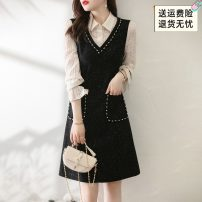 Dress Spring 2021 black S,M,L,XL,2XL Mid length dress Fake two pieces Long sleeves commute V-neck middle-waisted Socket A-line skirt Petal sleeve Others 30-34 years old Type A XWI Korean version Gouhua hollowed out, splicing, nail beads X1CL2A02090 51% (inclusive) - 70% (inclusive)