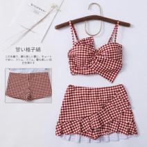 Split swimsuit Miss sweet swimsuit Red lattice XL,L,M Skirt split swimsuit Steel strap breast pad Polyester, spandex female