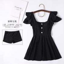one piece  Demon lolita M,L,XL,XXL black With chest pad without steel support Spandex, nylon female Short sleeve Casual swimsuit Solid color