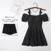 one piece  Miss sweet swimsuit M,L,XL black Skirt one piece With chest pad without steel support Spandex, nylon female Short sleeve Casual swimsuit Solid color
