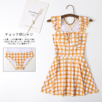 one piece  Miss sweet swimsuit M,L,XL Huang Ge Skirt one piece No chest pad Polyester, spandex female Sleeveless Casual swimsuit lattice