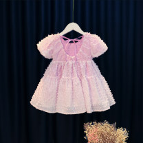 Dress violet female Other / other 80cm,90cm,100cm,110cm,120cm Cotton 95% other 5% summer princess Short sleeve other Cotton blended fabric Princess Dress 12 months, 6 months, 9 months, 18 months, 2 years, 3 years, 4 years