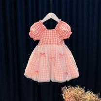 Dress Pink female Other / other 80cm,90cm,100cm,110cm,120cm Cotton 95% other 5% summer princess Short sleeve other Cotton blended fabric Princess Dress 12 months, 6 months, 9 months, 18 months, 2 years, 3 years, 4 years