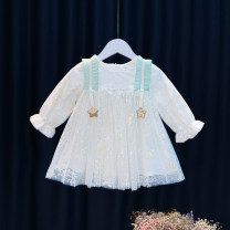 Dress white female Other / other 80cm,90cm,100cm,110cm,120cm Cotton 95% other 5% spring and autumn Korean version Long sleeves other Cotton blended fabric Splicing style 12 months, 6 months, 9 months, 18 months, 2 years, 3 years, 4 years
