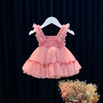 Dress Pink female Other / other 80cm,90cm,100cm,110cm,120cm,130cm,140cm,150cm Cotton 95% other 5% summer princess Skirt / vest other nylon Cake skirt 12 months, 9 months, 18 months, 2 years old, 3 years old, 4 years old, 5 years old, 6 years old Chinese Mainland