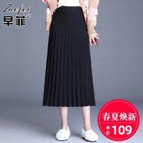 skirt Winter of 2019 Average size black longuette commute High waist Pleated skirt Solid color Zaofei fold