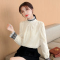 Lace / Chiffon Autumn 2020 Apricot, apricot full body plush, skirt S,M,L,XL,2XL Long sleeves commute Socket singleton  easy Regular stand collar Solid color bishop sleeve 18-24 years old Other / other Sequins, lace Korean version 81% (inclusive) - 90% (inclusive) polyester fiber
