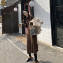Dress Winter of 2019 S,M,L Mid length dress singleton  Long sleeves commute Half high collar High waist Solid color Socket other routine Others 18-24 years old Type A JHXC Korean version More than 95% other other