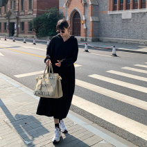 Dress Autumn 2020 Black, moonlight grey M, L longuette singleton  Long sleeves commute Hood High waist Solid color Socket A-line skirt routine Others 18-24 years old Type A JHXC Korean version Button 2020.09.23 More than 95% other cotton