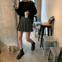 skirt Spring 2021 S,M,L,XL Black, dark grey, black (pre-sale 6-8 days), dark grey (pre-sale 6-8 days) Short skirt commute High waist A-line skirt Solid color Type A 18-24 years old 2021.03.05 More than 95% other JHXC polyester fiber zipper Korean version