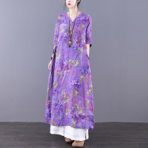 Dress Spring 2021 Purple blue M L longuette singleton  Long sleeves commute V-neck Loose waist Decor Socket A-line skirt routine Others 30-34 years old Type A Jian Tian Retro Floral print with pocket stitching JT21A80885 More than 95% hemp Flax 100% Pure e-commerce (online only)
