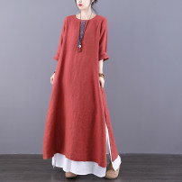 Dress Spring 2021 Navy iron embroidered red M L longuette singleton  Long sleeves commute Crew neck Loose waist Solid color Socket A-line skirt routine Others 30-34 years old Type A Jian Tian Retro Pocket panel button JT21A21803 More than 95% hemp Flax 100%
