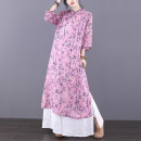 Dress Summer 2021 Pink grey M L XL longuette singleton  elbow sleeve commute stand collar Loose waist Decor Socket A-line skirt routine Others 30-34 years old Type A Jian Tian ethnic style Patchwork button print JT21A8108 More than 95% hemp Ramie 100% Pure e-commerce (online only)