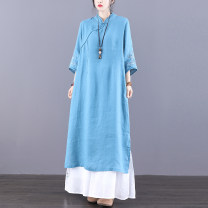 Dress Spring 2021 Blue skin pink jujube M L XL longuette singleton  Long sleeves commute stand collar Loose waist Solid color Socket A-line skirt routine Others 30-34 years old Type A Jian Tian Retro Embroidered stitched button inner binding JT21A8101--1 More than 95% hemp Flax 100%