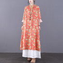 Dress Spring 2021 Orange M L longuette singleton  Long sleeves commute Crew neck Loose waist Decor Socket A-line skirt routine Others 30-34 years old Type A Jian Tian ethnic style Pocket stitching with floral button print inner hem More than 95% hemp Flax 100%