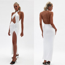 Dress Summer 2020 Black, white S,M,L longuette street Solid color Hanging neck style 18-24 years old Europe and America