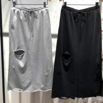 skirt Summer of 2019 XS,S,M,L,XL Black, medium grey Mid length dress street Natural waist Pencil skirt Solid color Type H 25-29 years old MAI2SKT028 other OMG MOCO cotton Holes, hollows Europe and America
