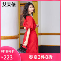 Dress Spring 2021 The color of sand is deep and the flame is red 155 160 170 165 Mid length dress singleton  Short sleeve Sweet Crew neck High waist Solid color A-line skirt other 25-29 years old Real / Ailey 51% (inclusive) - 70% (inclusive) cotton Ruili