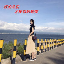 skirt Spring of 2019 XS,S,M,L Khaki Skirt, Navy skirt Mid length dress commute Natural waist A-line skirt Solid color Type A 25-29 years old 51% (inclusive) - 70% (inclusive) other justway nylon
