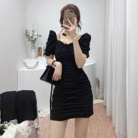 Dress Spring 2021 Black, white, blue M, L Short skirt singleton  Short sleeve commute High waist Solid color zipper A-line skirt routine 18-24 years old Type A Korean version 6803B-811 31% (inclusive) - 50% (inclusive) other