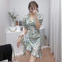 Dress Summer 2021 Green, red S,M,L Short skirt singleton  Short sleeve commute High waist zipper A-line skirt routine 18-24 years old Type A Korean version 6531B-9LYQ150 31% (inclusive) - 50% (inclusive) other