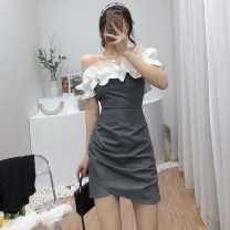Dress Spring 2021 Black, white, grey S, M Short skirt singleton  Short sleeve commute One word collar High waist Solid color zipper A-line skirt Petal sleeve Breast wrapping 18-24 years old Type A Korean version Lotus leaf, Auricularia auricula, stitching, asymmetric 6021B-5715 other other