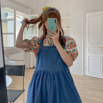 Women's large Spring 2021, summer 2021 blue Large XL, 2XL, 3XL, 4XL Dress singleton  commute easy moderate Conjoined Sleeveless Solid color Korean version Denim Other / other 18-24 years old pocket 51% (inclusive) - 70% (inclusive) Medium length Single row two buttons