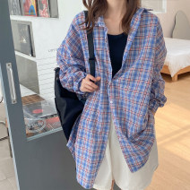 Women's large Spring 2021, summer 2021 Purple, pink Big size average shirt singleton  commute easy thin Cardigan Long sleeves lattice Korean version Polo collar routine polyester fiber routine Other / other 18-24 years old Button 51% (inclusive) - 70% (inclusive)
