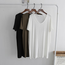 T-shirt Black, white, army green Average size Short sleeve V-neck easy Medium length routine street modal  30% and below 18-24 years old youth Solid color Other / other Europe and America