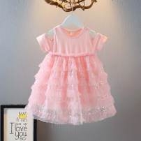 Dress Pink, blue female Other / other 90cm,100cm,110cm,120cm,130cm Cotton 70% other 30% summer Korean version Short sleeve Solid color cotton Splicing style 12 months, 18 months, 2 years old, 3 years old, 4 years old, 5 years old, 6 years old, 7 years old