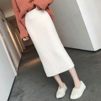 skirt Autumn of 2019 Average size Off white, black Mid length dress Versatile High waist High waist skirt Solid color Type H 91% (inclusive) - 95% (inclusive) other