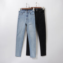 Jeans Spring of 2019 Light blue cut back and forth, black cut back and forth XS,S,M,L trousers Natural waist Pencil pants routine Whiten and wash Cotton denim Dark color Sindarin / Sindarin