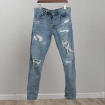 Jeans Youth fashion Sindarin / Sindarin 27,28,29,30,31,32,33,34,36,38 The length of light blue worn-out beggar's pants is L32, the length of blue white worn-out beggar's pants is L32, and the length of blue white defective goods is L32 routine No bullet Regular denim trousers Home spring Large size