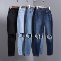 Jeans Autumn 2020 Black, dark blue, denim blue, light blue trousers Natural waist Straight pants routine 18-24 years old Wear out Cotton denim Dark color Sindarin / Sindarin