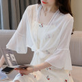 Lace / Chiffon Summer 2021 White, black S,M,L,XL,2XL three quarter sleeve commute Cardigan singleton  easy have cash less than that is registered in the accounts V-neck Solid color pagoda sleeve Lunkeyidu FT-657 Frenulum lady