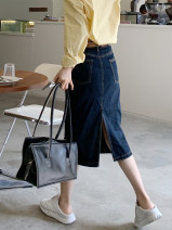 skirt Summer 2021 XS,S,M,L,XL The primary color is dark blue and the primary pulp is off white Mid length dress commute High waist Denim skirt Solid color Type A 18-24 years old Q0116 More than 95% other Thousand pavilions cotton Chains, pockets, rags, buttons