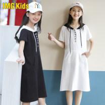 Dress White black female Imgkids / micketty children's wear S/150cm M/160cm L/170cm XL/175cm XXL/180cm Cotton 95% polyurethane elastic fiber (spandex) 5% summer college Short sleeve Solid color cotton A-line skirt IMG198910 Summer 2021 9, 10, 11, 12, 13, 14