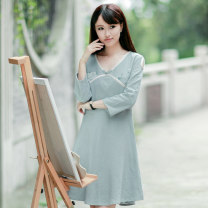 Dress Spring 2021 Azure (15 days delivery), azure (in stock) For personal customization, please provide the clothing size to customer service, XS, s, m, l, XL Middle-skirt singleton  Long sleeves commute V-neck middle-waisted Hand painted Socket A-line skirt routine Others 25-29 years old Smart lemon
