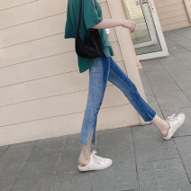 Jeans Spring 2021 Blue, blue stock S,M,L Ninth pants Natural waist Straight pants routine Make old , Grinding white , zipper , Button , Multiple pockets Cotton elastic denim Dark color 96% and above