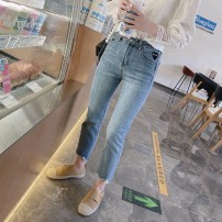 Jeans Spring 2021 Light blue, light blue spot S,M,L Ninth pants Natural waist Straight pants routine Old, worn, washed, embroidered, white, zipper, button, multi pocket, scratch Cotton elastic denim light colour 96% and above