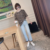 T-shirt Leopard print, leopard print in stock Average size Spring 2021 Short sleeve Crew neck Straight cylinder Regular routine Sweet cotton 96% and above youth Leopard Print Ruili