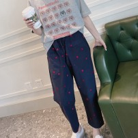 Casual pants Navy, navy in stock Average size Spring 2021 Ninth pants loose  Natural waist Sweet Thin money 96% and above cotton Embroidery cotton Ruili