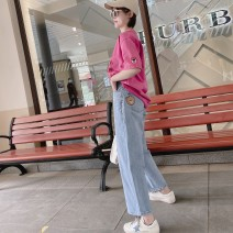 Jeans Spring 2021 Light blue, light blue spot S,M,L trousers Natural waist Wide legged trousers routine Worn, embroidered, ground white, zipper, button, multi pocket Striped denim light colour 96% and above