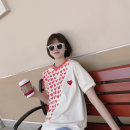 T-shirt Beige, beige stock Average size Spring 2021 Short sleeve Crew neck Straight cylinder Regular routine Sweet cotton 96% and above youth Color matching Printing, stitching, embroidery, patching Ruili